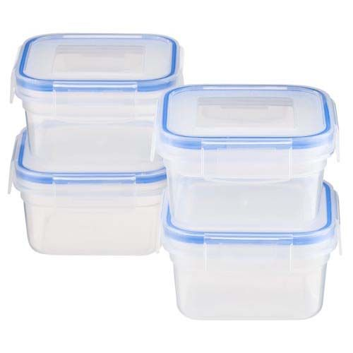 MINI SQUARE CLIP LOCK CONTAINERS 4 PACK