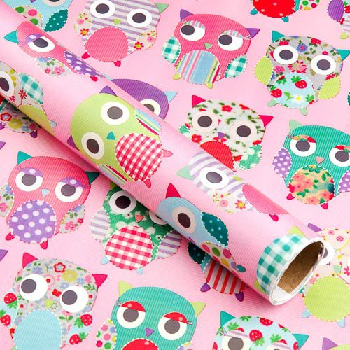 PINK OWLS GIFT WRAP 3M