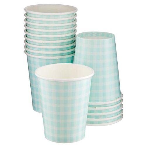15PK AQUA GINGHAM CUPS