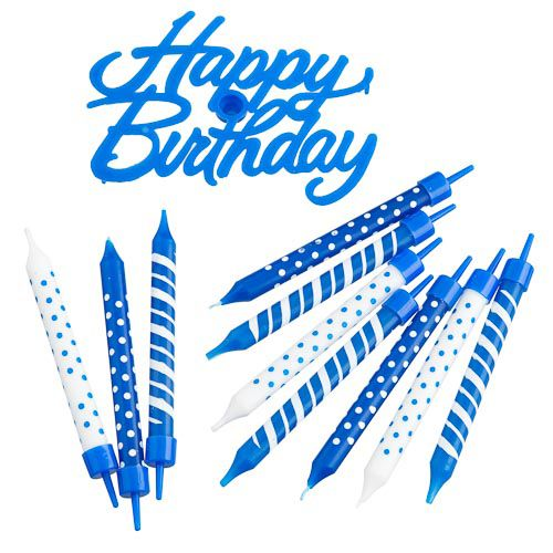 BLUE HAPPY BIRTHDAY CANDLE SET