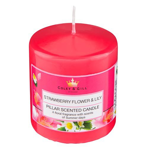 PILLAR CANDLE, STRAWBERRY FLOWER AND LILY