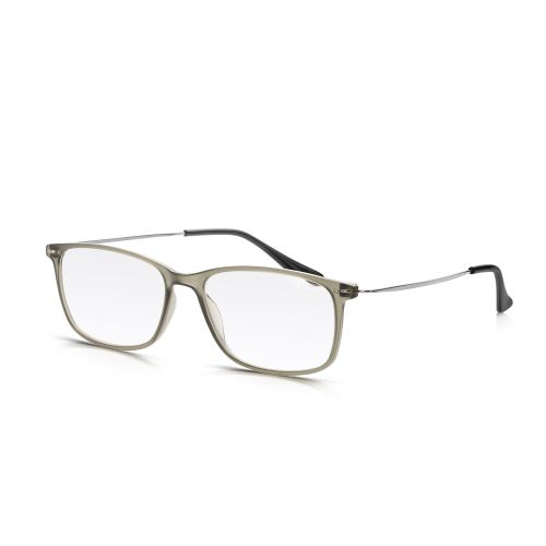 GREY PLASTIC, METAL ARM READING GLASSES +1.25