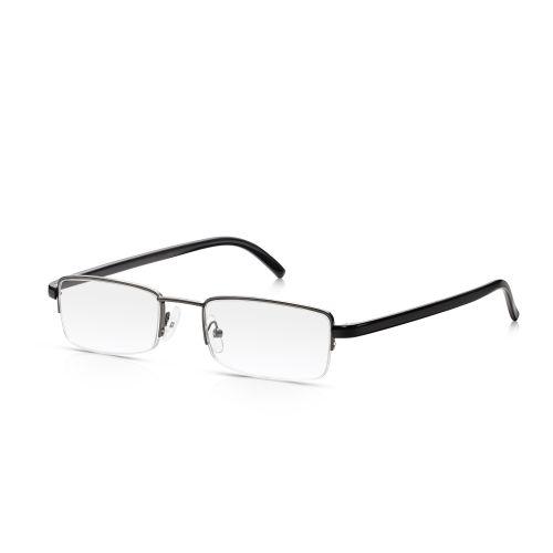 Grey Metal Half Frame Reading Glasses +1.50