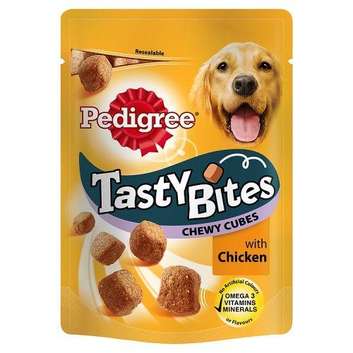 PEDIGREE TASTY BITES DOG TREAT CUBES CHICKEN 130G