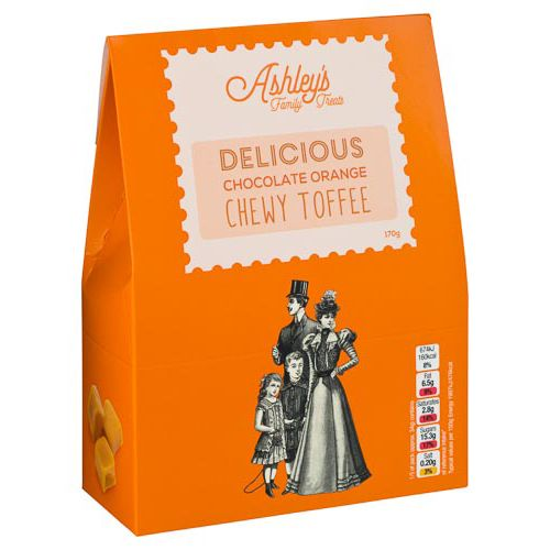 ASHLEYS FAMILY TREATS CHOCOLATE ORANGE TOFFEE 170G