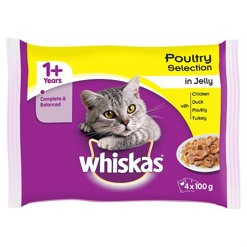 Whiskas 1+ Cat Pouches Poultry In Jelly 4 X 100g