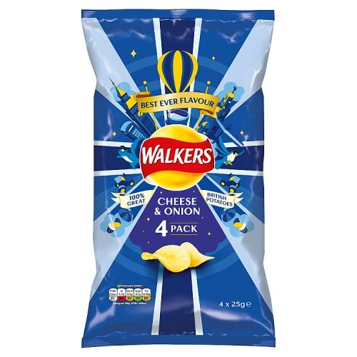 Walkers Cheese & Onion 4x25g