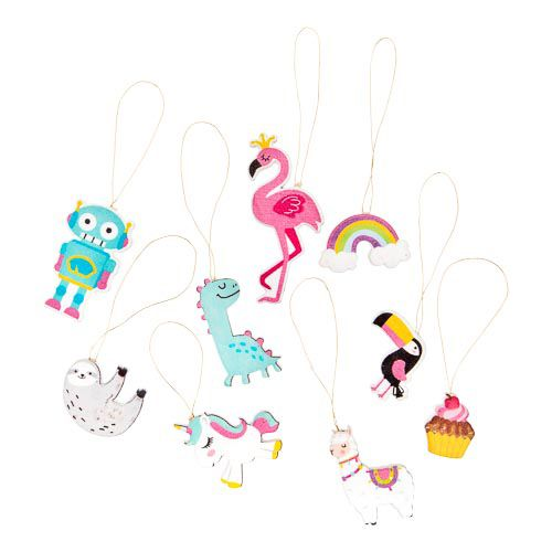 MINI WOODEN DECORATIONS 9 PACK