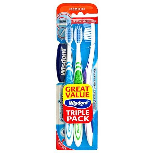 WISDOM MEDIUM TOOTHBRUSH 3PK