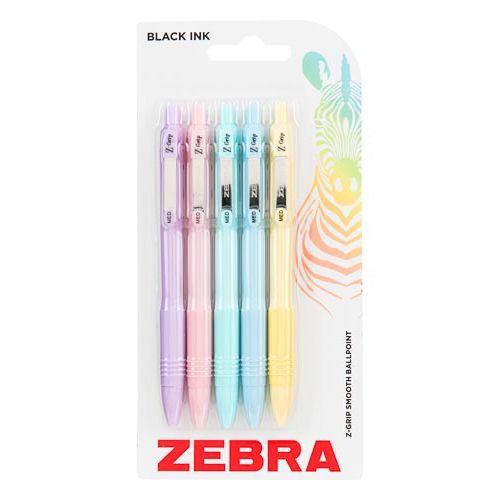 Zebra Z Grip Smooth Ballpoint Pens Pastel 5 Pack