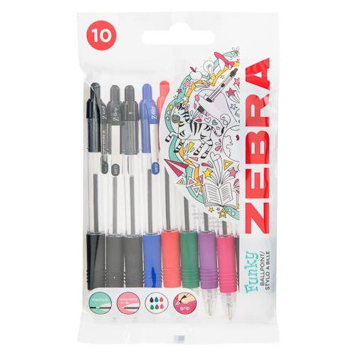 Zebra Classic Ballpoint Pens Assorted 10 Pack