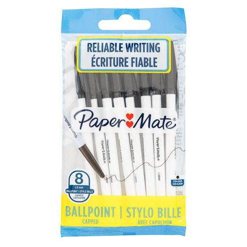 Papermate Ballpoint Pen Black 8 Pack