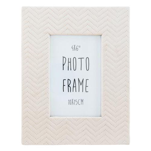 "White Suede Photo Frame 6""x4"""