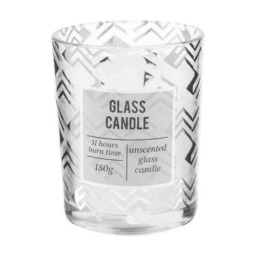 Metallic Print Glass Jar Candle Unscented 180g