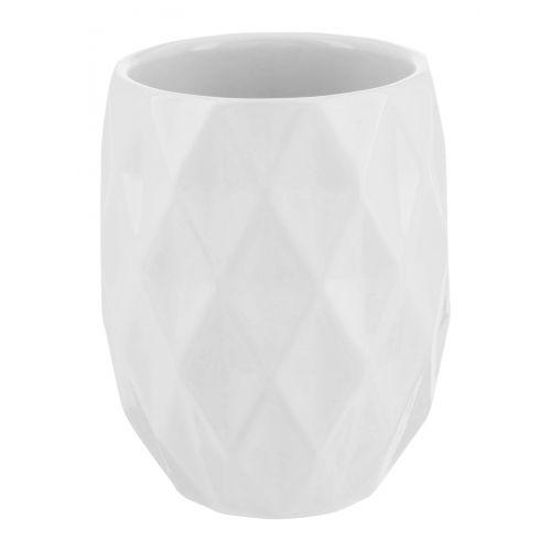 White Ceramic Geometric Toothbrush Holder