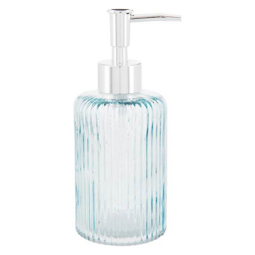 Tinted Blue Glass Soap Dispenser With Silver Pump
