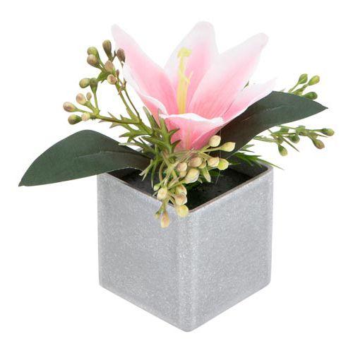 Artificial Flower Head In Cement Look Pot