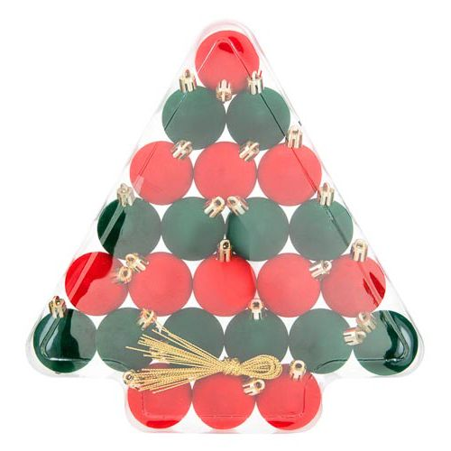 Red and Green Bauble 24 Pack