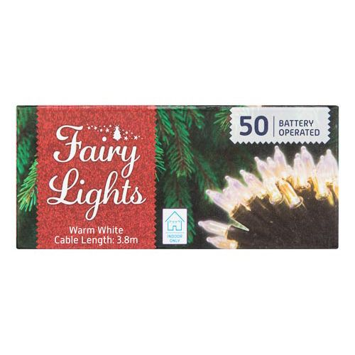 Clear / Coloured Fairy Lights 50 Pack
