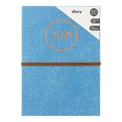 A5 Camo Foliage Glitter Diary Blue
