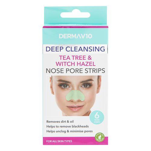 Derma V10 Tea Tree Witch Hazel Nose Pore Strips 6s