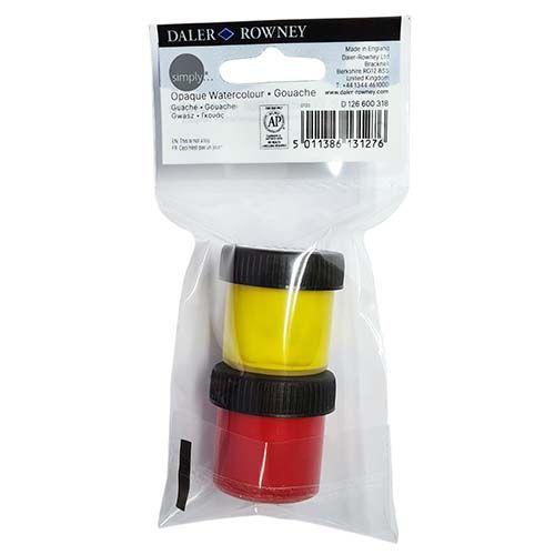 Daler-Rowney Simply Watercolour Yellow & Red 2pk