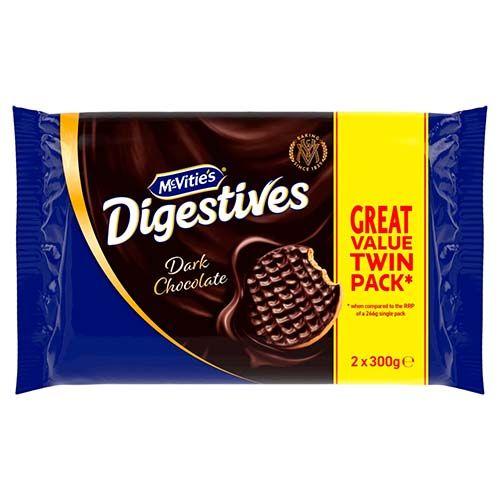 McVities Digestives Dark Chocolate Twin 2x300g